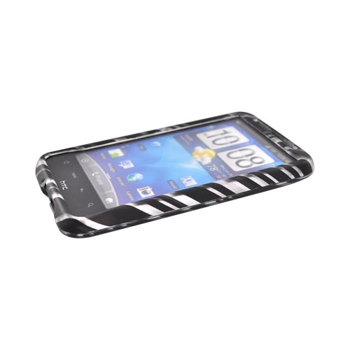 HTC Inspire 4G Rubberized Hard Case - Gray w/ Black Lines