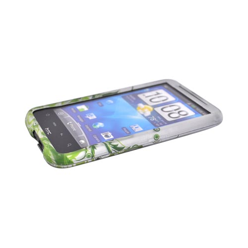 HTC Inspire 4G Rubberized Hard Case - Green Vines on Gray