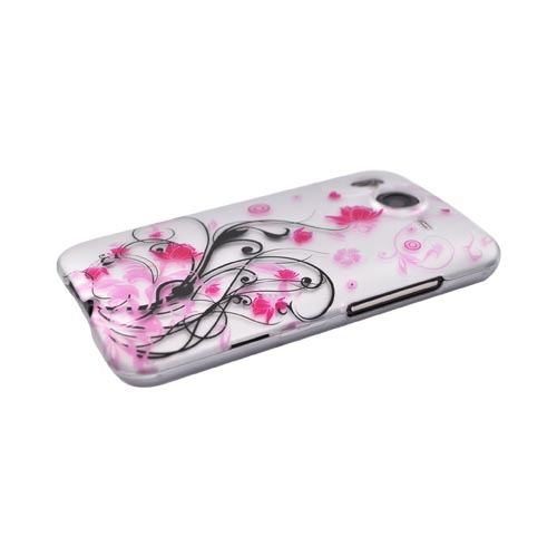 HTC Inspire 4G Rubberized Hard Case - Pink Butterfly and Flowers on Silver