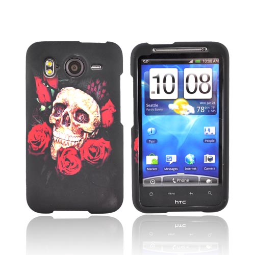 HTC Inspire 4G Rubberized Hard Case - Rose Skull on Black