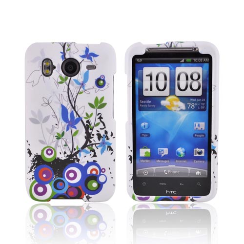 HTC Inspire 4G Rubberized Hard Case - Rainbow Spring Flower on White