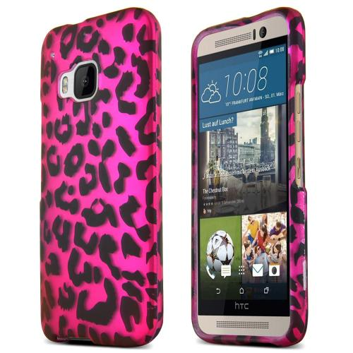 HTC One M9 Case, [Black Leopard on Hot Pink]  Slim & Flexible Anti-shock Crystal Silicone Protective TPU Gel Skin Case Cover