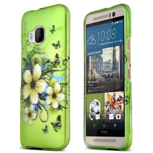 HTC One M9 Case, [Hawaiian Flowers on Green]  Slim & Flexible Anti-shock Crystal Silicone Protective TPU Gel Skin Case Cover