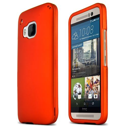 HTC One M9 Case, [Orange]  Slim & Flexible Anti-shock Crystal Silicone Protective TPU Gel Skin Case Cover
