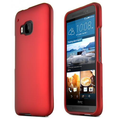 One M9 Case, [Red] Slim Grip Rubberized Hard Plastic Case for HTC One M9