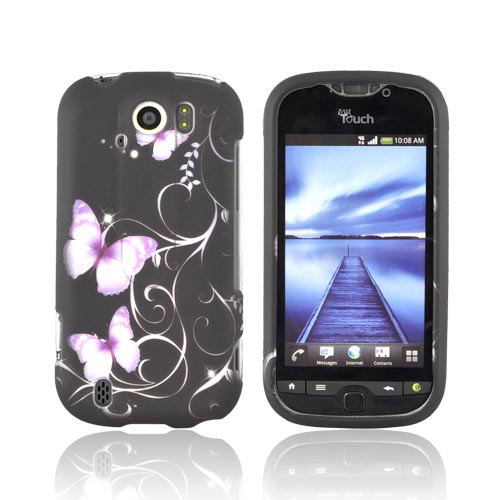HTC Mytouch 4G Slide Rubberized Hard Case - Purple Butterflies on Black
