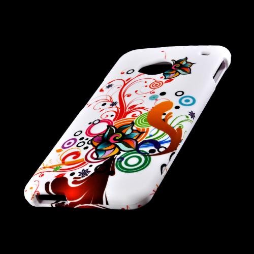 Autumn Floral Burst on White Rubberized Hard Case for HTC One