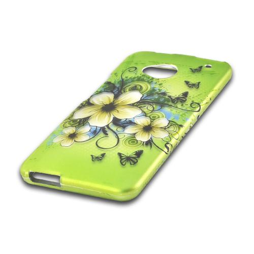 White Hawaiian Flowers on Green Rubberized Hard Case for HTC One