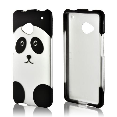 Silver/ Black Panda Rubberized Hard Case for HTC One