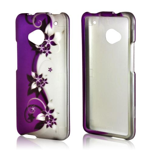 Purple Vines/ Flowers on Silver Rubberized Hard Case for HTC One