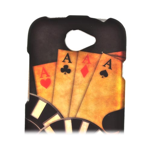 HTC One S Rubberized Hard Case - Black/ Gold Aces Poker