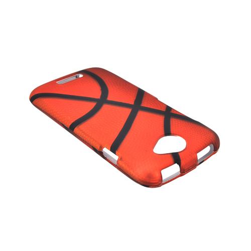 HTC One S Rubberized Hard Case - Orange/ Black Basketball