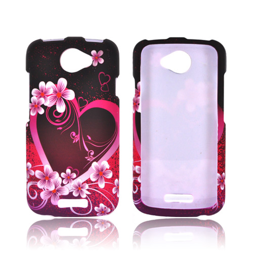 HTC One S Rubberized Hard Case - Hot Pink/ Purple Flowers & Hearts