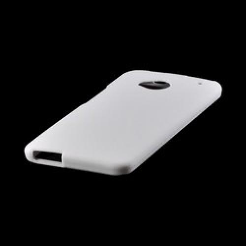 Solid White Rubberized Hard Case for HTC One