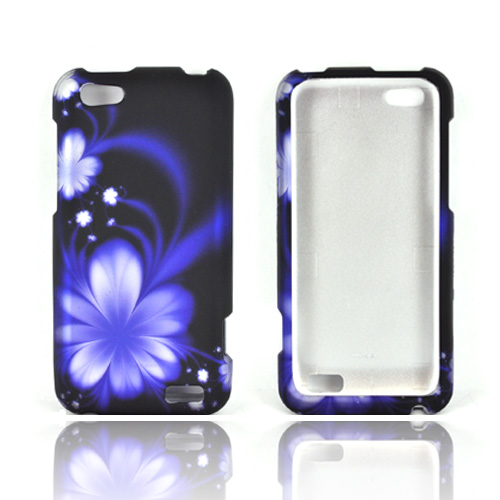 HTC One V Rubberized Hard Case - Blue Flower Design on Black