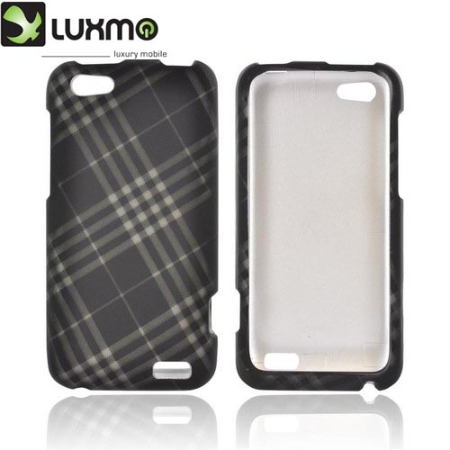 HTC One V Rubberized Hard Case - Gray/ Black Plaid