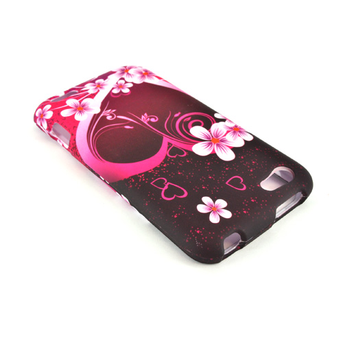 HTC One V Rubberized Hard Case - Pink Heart and Flowers on Black