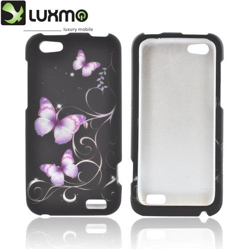 HTC One V Rubberized Hard Case - Purple Butterflies on Black
