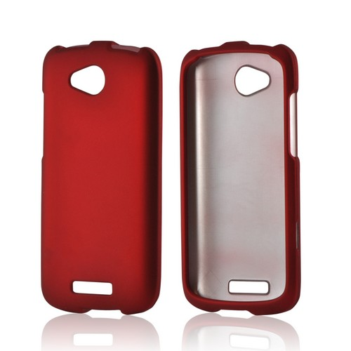 Red Rubberized Hard Case for HTC One VX