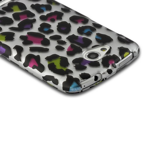 Rainbow Leopard on Silver Rubberized Hard Case for HTC One VX