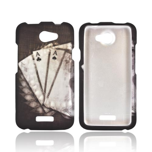 HTC One X Rubberized Hard Case - Black/ White Aces w/ Laurel Leaf Imprint