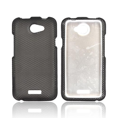 HTC One X Rubberized Hard Case - Black/ Gray Carbon Fiber