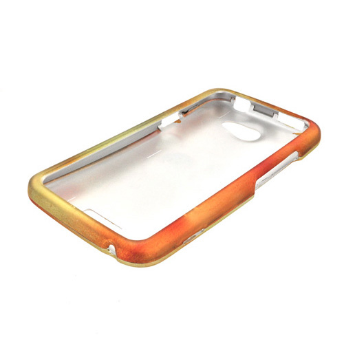 HTC One X Rubberized Hard Case - Gold/ Orange Cute Cat