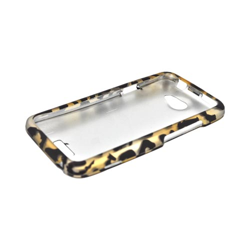 HTC One X Rubberized Hard Case - Gold/ Black Leopard