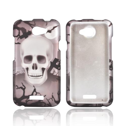 HTC One X Rubberized Hard Case - Black/ Silver Skull in Graveyard