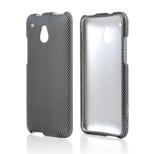 Gray/ Black Carbon Fiber Design Rubberized Hard Case for HTC One Mini