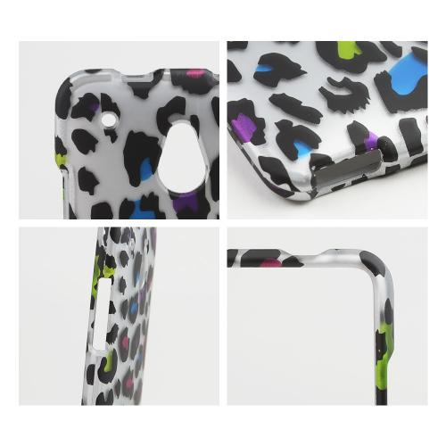 Rainbow Leopard on Silver Rubberized Hard Case for HTC One Mini