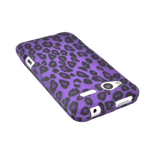 HTC Radar 4G Rubberized Hard Case - Purple/ Black Leopard