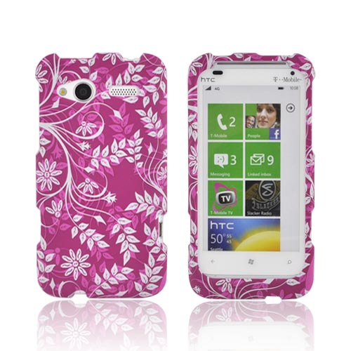 HTC Radar 4G Rubberized Hard Case - White Vines on Magenta
