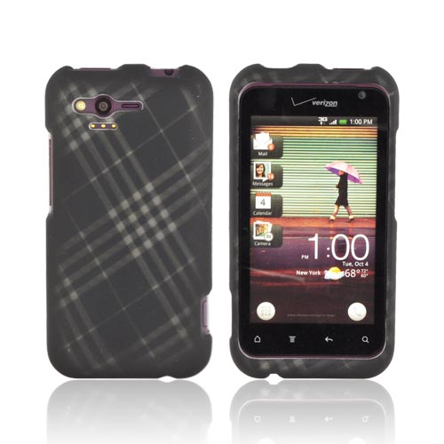 HTC Rhyme Rubberized Hard Case - Gray Plaid on Black