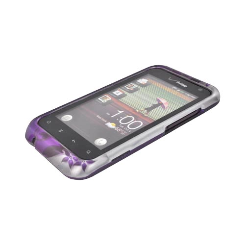HTC Rhyme Rubberized Hard Case - Purple Flowers/ Vines on Silver