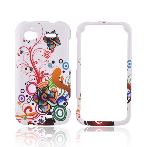 HTC Sensation 4G Rubberized Hard Case - Rainbow Autumn Floral Design on White