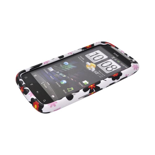HTC Sensation 4G Rubberized Hard Case - Black Daisies on White