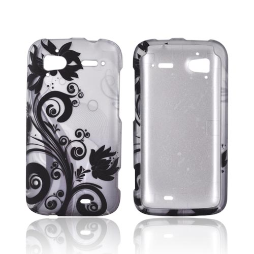 HTC Sensation 4G Rubberized Hard Case - Black Vines & Flowers on Gray