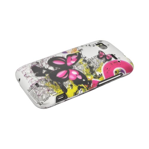 HTC Sensation 4G Rubberized Hard Case - Hot Pink Butterflies on Silver
