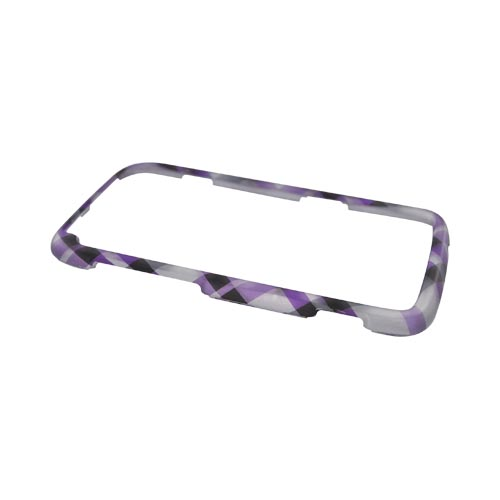 HTC Sensation 4G Rubberized Hard Case - Purple Plaid on Gray