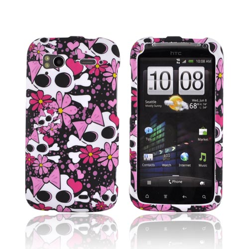 HTC Sensation 4G Rubberized Hard Case - White Skulls w/ Pink Bows & Flowers on Black