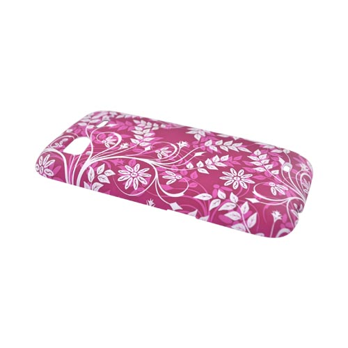 HTC Sensation 4G Rubberized Hard Case - White Leaves & Vines on Pink