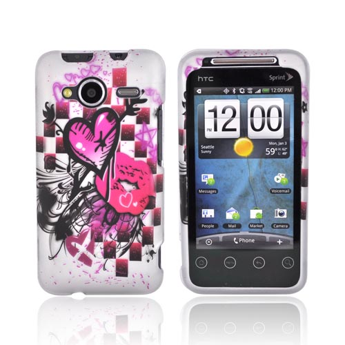 HTC EVO Shift 4G Rubberized Hard Case - Pink Heart Lip Design on Gray