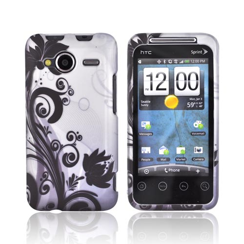 HTC EVO Shift 4G Rubberized Hard Case - Black Vines & Flowers on Gray