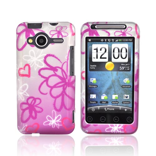 HTC EVO Shift 4G Rubberized Hard Case - Flowers Rose Pink/Grey