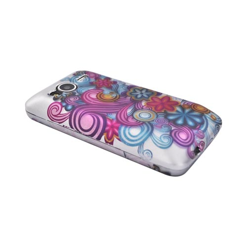 HTC EVO Shift 4G Rubberized Hard Case - Purple/Blue Swirls on Gray
