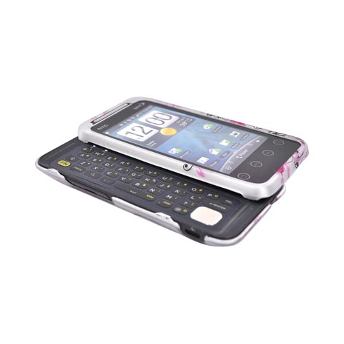 HTC EVO Shift 4G Rubberized Hard Case - Pink Floral on Gray