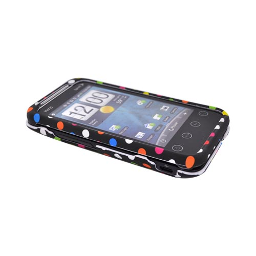 HTC EVO Shift 4G Rubberized Hard Case - Rainbow Dots on Black