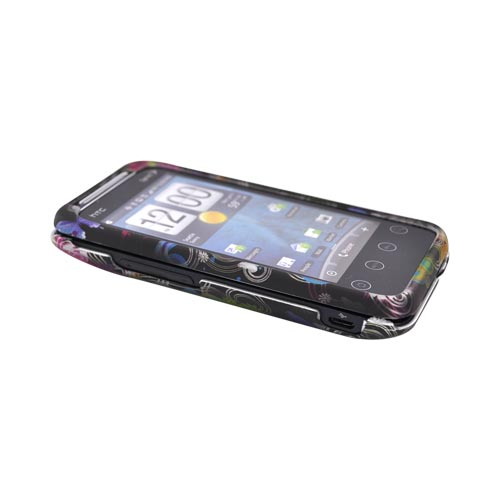 HTC EVO Shift 4G Rubberized Hard Case - Rainbow Flowers on Black