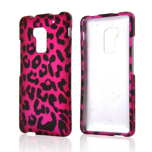 Black Leopard on Hot Pink Rubberized Hard Case for HTC One Max